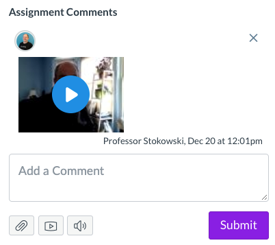 Photo of the Assignment Comments box with video uploaded
