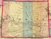 1872 map of Wyoming with five counties highlighted in different colors