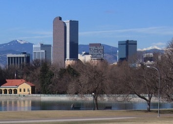 Denver skyline with mountains in background