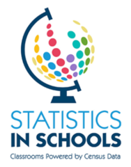 Statistics in Schools logo showing a drawing of a globe with phrase Classrooms Powered by Census Data
