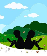 Color drawing of silhouettes of girl and boy sitting back to back reading books in the grass