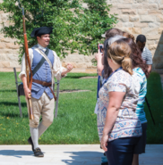 Actor portraying a soldier in the colonial period addresses teachers at Mount Vernon
