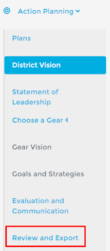 Screen shot of the action planning step