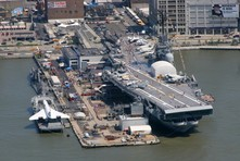 Aerial photo of Intrepid Sea, Air and Space Museum in New York
