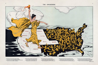 Women's suffrage cartoon showing lady liberty walking across the United States
