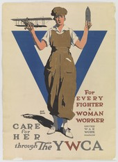 World War One poster reading: For every fighter, a woman worker