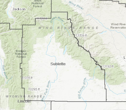 Map of Sublette County