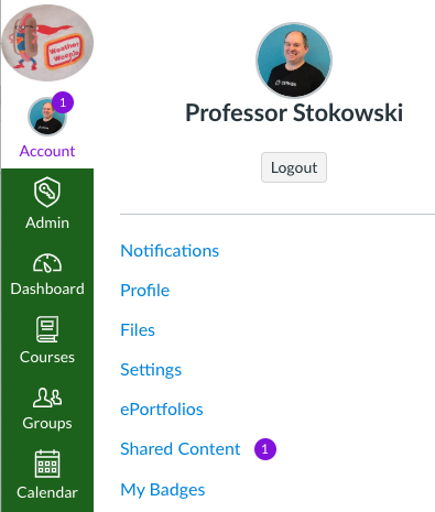 Screenshot of Canvas Account Icon at the top of the Global Navigation, and a new link called Shared Content
