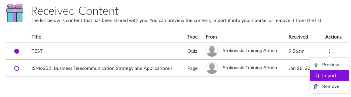 Received content screenshot to preview, import or remove