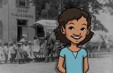 Cartoon image of young girl in front of an image of students in front of an early 20th century school