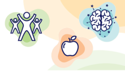Graphics of students exercising, an apple, and a brain