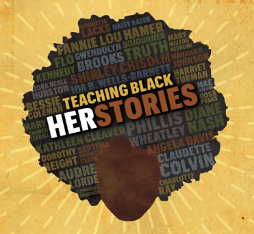 Graphic for Black History Conference showing the names of historic black females' names overlaid on the silhouette of a woman's hair