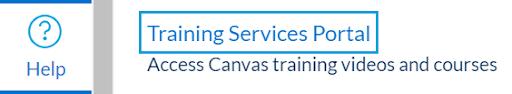 Training Services Portal from Help Menu Screenshot