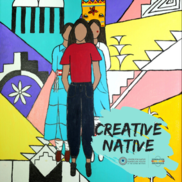 Artwork depicting three Native American figures standing in front of Native symbols