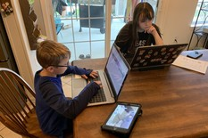 Two students at home working on their laptops