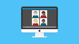 Cartoon image of four people wearing headsets and participating on a webinar