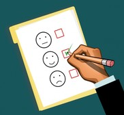 Cartoon picture of a clipboard with happy or sad faces next to checkboxes