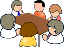Cartoon image of people gathered around a table holding a meeting