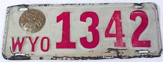 1942 Wyoming license plate