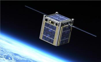 NASA Cube-shaped satellite above Earth