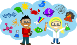 Cartoon of two young students surrounded by science-related graphics