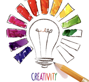 Creativity camp logo of a crayon drawing of a lightbulb