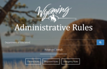 Wyoming Administrative Rules with photo of a bison in the background