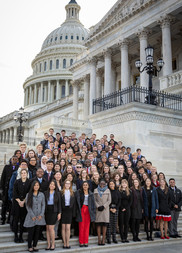 Winners of the U.S. Senate Youth Program award pose for a photo on the steps of the U.S. Capitol
