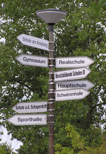 Signs written in German pointing to different school buildings on a German school campus