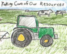 "Student artwork of a tractor disking a field with the words ""Taking Care of Our Resources"" above it"