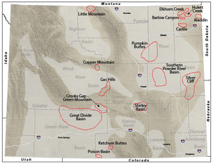 Wyoming uranium districts, both current and historic.