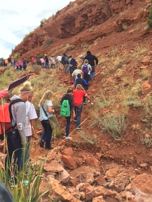 Christina Bekken's class studied geology in Red Canyon.