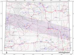 Total solar eclipse's path of totality across Wyoming.